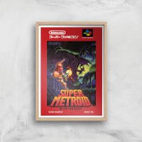 Nintendo Retro Super Metroid Cover Art Print - A4 - Wood Frame