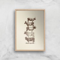 Cow Cow Nuts Art Print - A4 - Wood Frame - Cow Gifts