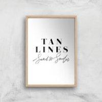 PlanetA444 Tan Lines, Sand and Smiles Art Print - A4 - Wood Frame - Sand Gifts