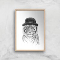 Balazs Solti Tiger In A Hat Art Print - A4 - Wood Frame - Hat Gifts