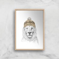 Balazs Solti Lion with Hat Art Print - A4 - Wood Frame - Hat Gifts