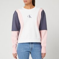 Calvin Klein Jeans Women's Colour Block Crew Neck Sweatshirt - Bright White/Pink/Abstract Grey - L
