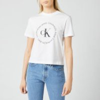 Calvin Klein Jeans Women's CK Round Logo Straight T-Shirt - Bright White - L
