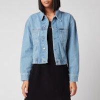 Calvin Klein Jeans Womens Cropped Oversized Trucket Jacket - ICN Light Blue - M
