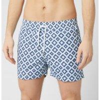 Frescobol Carioca Men's Pangra Sports Swim Shorts - Navy/Sky Blue - L