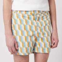 Frescobol Carioca Men's Tailored Mosaique Swim Shorts - Mandarin/Off White - S