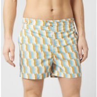Frescobol Carioca Men's Tailored Mosaique Swim Shorts - Mandarin/Off White - L