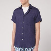 Frescobol Carioca Men's Linen Block Short Sleeve Shirt - Midnight Blue - XL