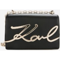 shop for Karl Lagerfeld Women's K/Signature Small Shoulder Bag - Black/Gold at Shopo