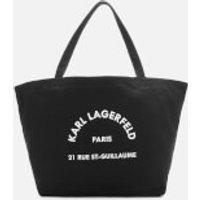shop for Karl Lagerfeld Women's K/Rue St Guillaume Canvas Tote Bag - Black at Shopo