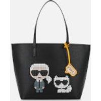 shop for Karl Lagerfeld Women's K/Pixel Karl & Choupette Tote Bag - Black at Shopo