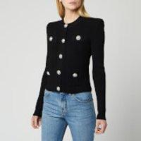 Balmain Women's Buttoned Pleated Knit Cardigan - Black - FR 38/UK 10