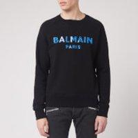 Balmain Men's Silicone Balmain Sweatshirt - Black/Blue - XL