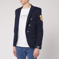 Balmain Men's 6 Button Unlined Cotton Jacket W/ Badge - Navy - IT 52/XL