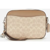 shop for Coach Women's Coated Canvas Signature Camera Bag - Sand Taupe at Shopo