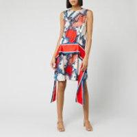 Victoria, Victoria Beckham Women's Map Print Scarf Dress - Red/Multi - UK 8