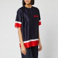 Victoria, Victoria Beckham Women's Short Sleeve Logo Top - Midnight Blue/Red - UK 10