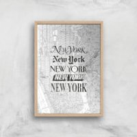 The Motivated Type New York New York Giclee Art Print - A4 - Wooden Frame