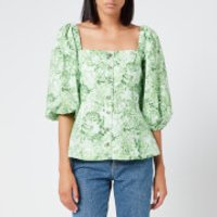Ganni Women's Printed Cotton Poplin Top - Island Green - EU 38/UK 10