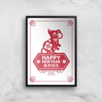 Year Of The Rat Happy Chinese New Year Red Giclee Art Print - A4 - Black Frame - Chinese Gifts