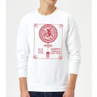 Happy Chinese New Year Red Sweatshirt - White - 3XL - White