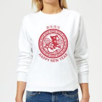 Image of Year Of The Rat Decorative Circle Red Women's Sweatshirt - White - XS - White