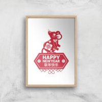 Happy New Year Symbol Red Giclee Art Print - A3 - Wooden Frame