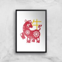 Chinese Zodiac Ox Giclee Art Print - A2 - Wooden Frame