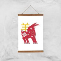 Chinese Zodiac Goat Giclee Art Print - A3 - Wooden Hanger - Chinese Gifts