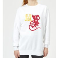 Chinese Zodiac Rat Women's Sweatshirt - White - XS - White