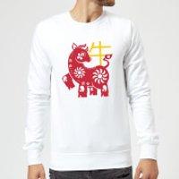 Chinese Zodiac Ox Sweatshirt - White - M - White