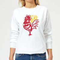Chinese Zodiac Rooster Women's Sweatshirt - White - 5XL - White