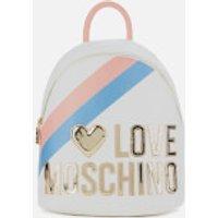 Love Moschino Womens Logo Stripe Backpack - Fantasy