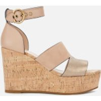Coach Women's Isla Metallic/Cork Wedged Sandals - Dusty Gold/Beachwood - UK 7