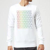 White Hearts On Rainbow Background Sweatshirt - White - XL - White
