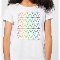 White Hearts On Rainbow Background Women's T-Shirt - White - 3XL - White
