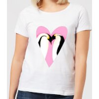Love Heart Penguins Women's T-Shirt - White - S - White