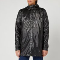 RAINS Short Coat - Shiny Black - M/L