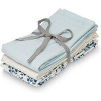 Cam Cam Muslin Cloth - Fiori, Light Blue, Creme White (Pack of 3)