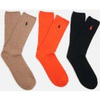 Polo Ralph Lauren Mens 3 Pack Cotton Socks - Orange/Italian Heather/Navy