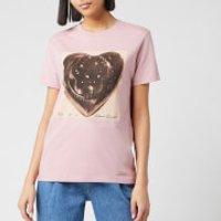 Coach 1941 Women's Black Jello Heart Classic T-Shirt - Baby Pink - XS