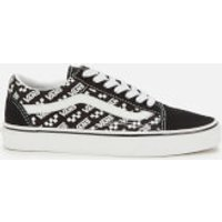 Vans Old Skool Logo Repeat Trainers - Black/True White - UK 3
