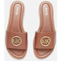 MICHAEL MICHAEL KORS Women's Brynn Leather Slide Sandals - Luggage - UK 3