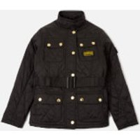 Barbour Girls' Flyweight International Quilted Jacket - Black/Cameo Pink - L