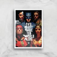 DC Justice League Giclee Art Print - A3 - White Frame