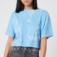 Calvin Klein Jeans Women's Lava Dye Cropped T-Shirt - Powdery Blue - L