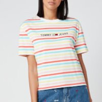 Tommy Jeans Women's Summer Stripe Logo T-Shirt - Frozen Lemon/Multi - S