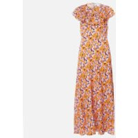 RIXO Women's Lacey Midi Dress - Abstract 60S Floral Yellow Pick - M