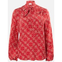 RIXO Women's Moss Blouse - Scarf Floral Red - S