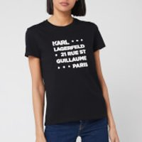 Karl Lagerfeld Women's Stacked Logo Address T-Shirt - Black - XS